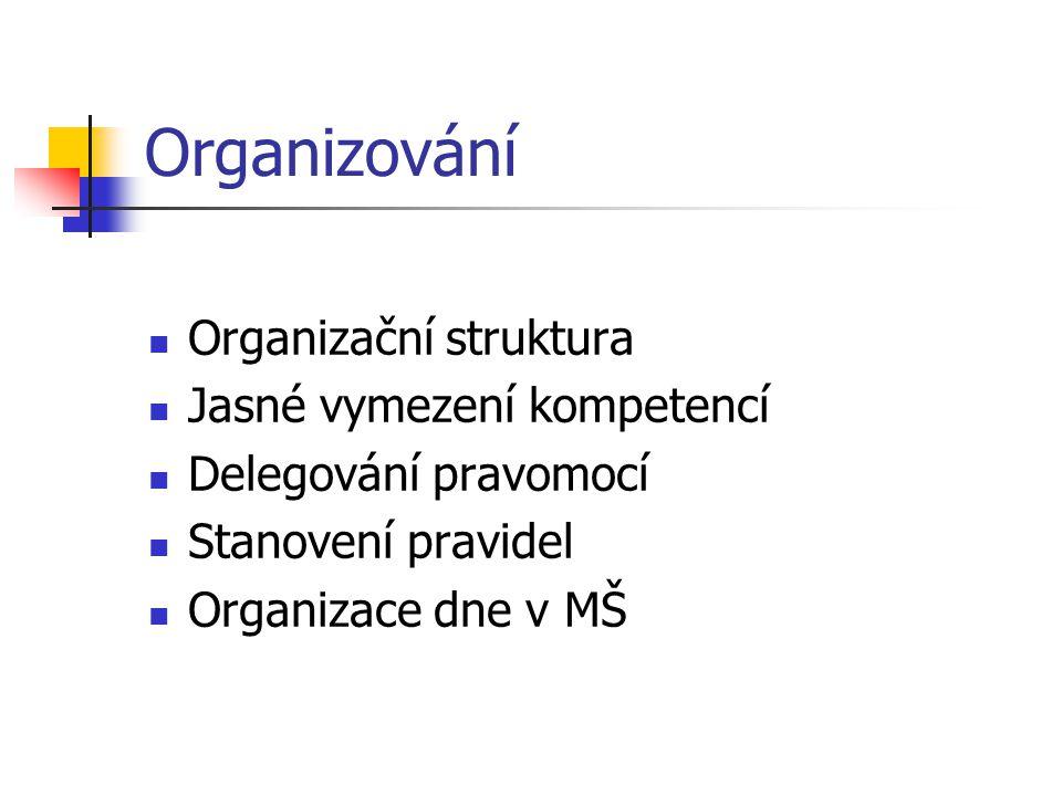 Organizování Organizační struktura Jasné vymezení kompetencí