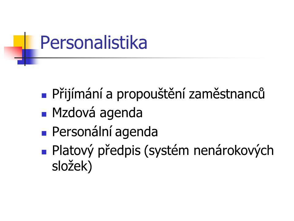 Personalistika Přijímání a propouštění zaměstnanců Mzdová agenda