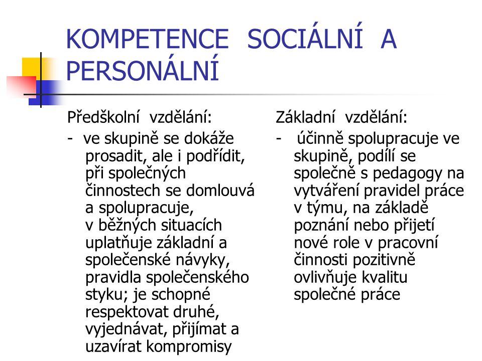 KOMPETENCE SOCIÁLNÍ A PERSONÁLNÍ