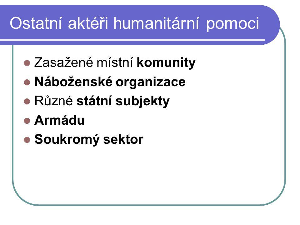 Ostatní aktéři humanitární pomoci