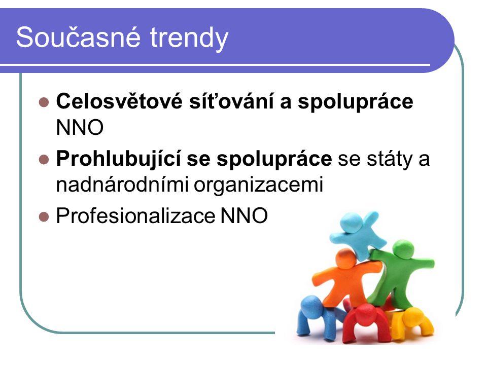 Současné trendy Celosvětové síťování a spolupráce NNO