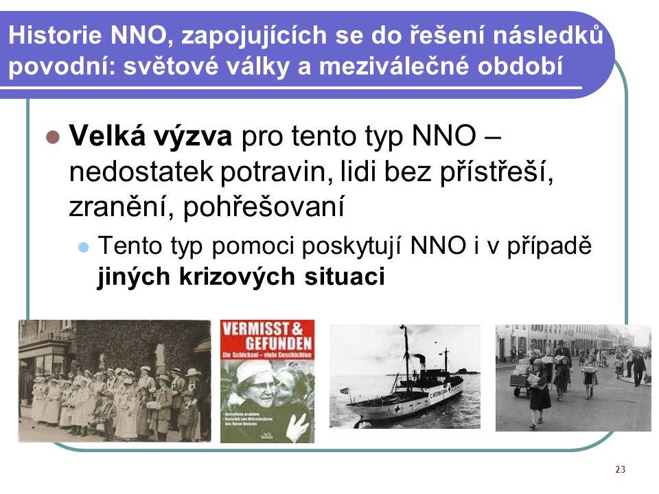 Historie NNO, zapojujících se do řešení následků povodní: světové války a meziválečné období