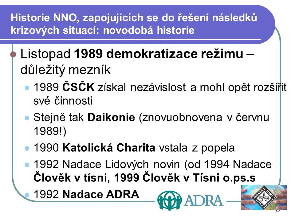 Listopad 1989 demokratizace režimu – důležitý mezník