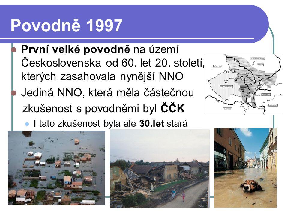 Povodně 1997 První velké povodně na území Československa od 60. let 20. století, při kterých zasahovala nynější NNO.
