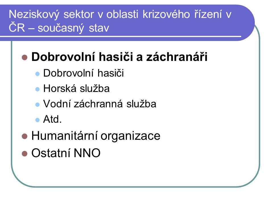 Neziskový sektor v oblasti krizového řízení v ČR – současný stav
