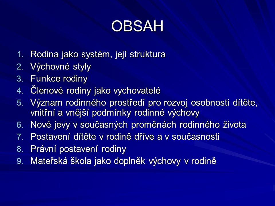 OBSAH Rodina jako systém, její struktura Výchovné styly Funkce rodiny