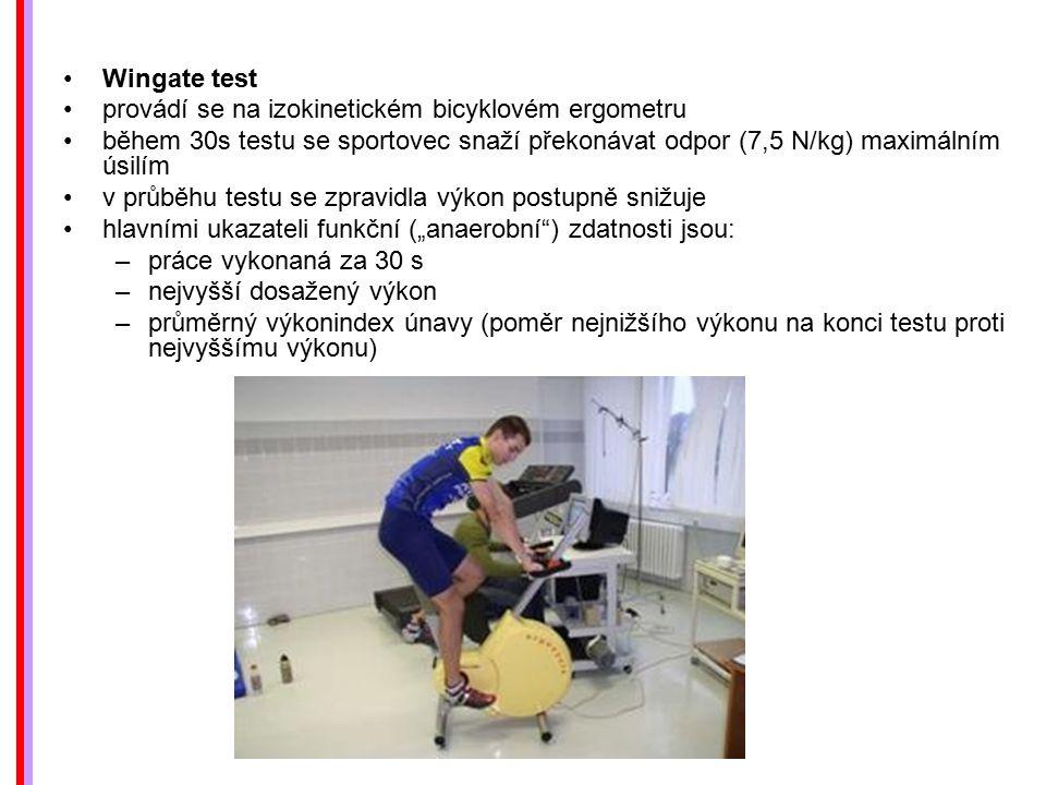 Wingate test provádí se na izokinetickém bicyklovém ergometru. během 30s testu se sportovec snaží překonávat odpor (7,5 N/kg) maximálním úsilím.