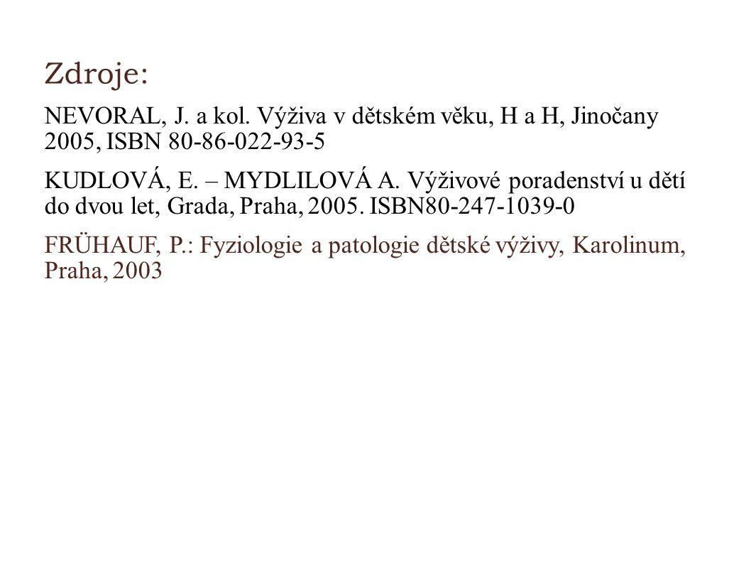 Zdroje: NEVORAL, J. a kol. Výživa v dětském věku, H a H, Jinočany 2005, ISBN 80-86-022-93-5.