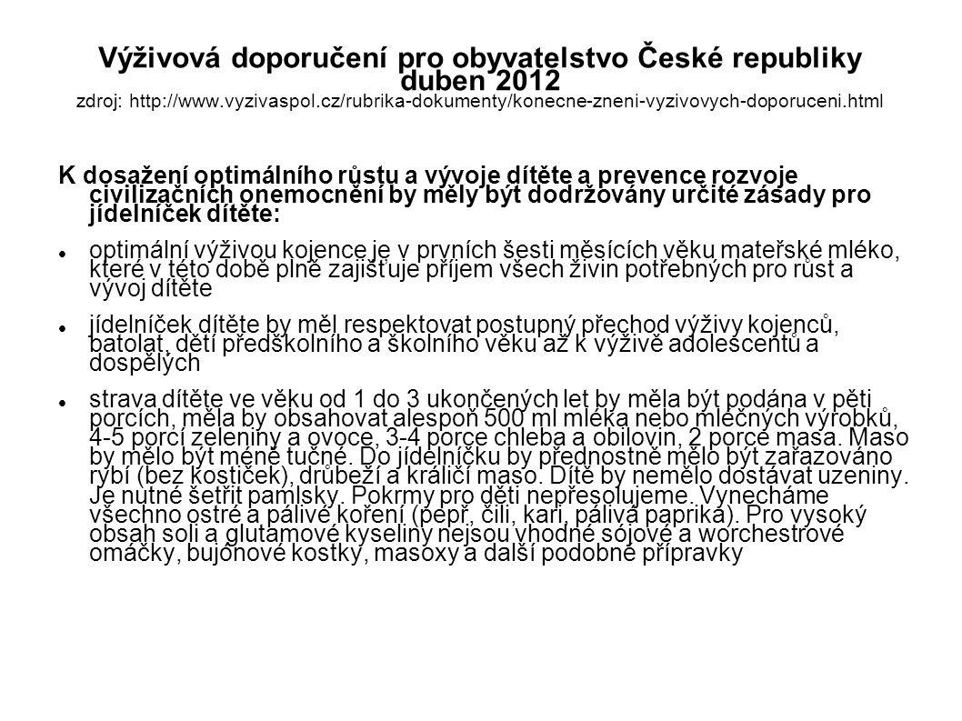 Výživová doporučení pro obyvatelstvo České republiky duben 2012 zdroj: http://www.vyzivaspol.cz/rubrika-dokumenty/konecne-zneni-vyzivovych-doporuceni.html