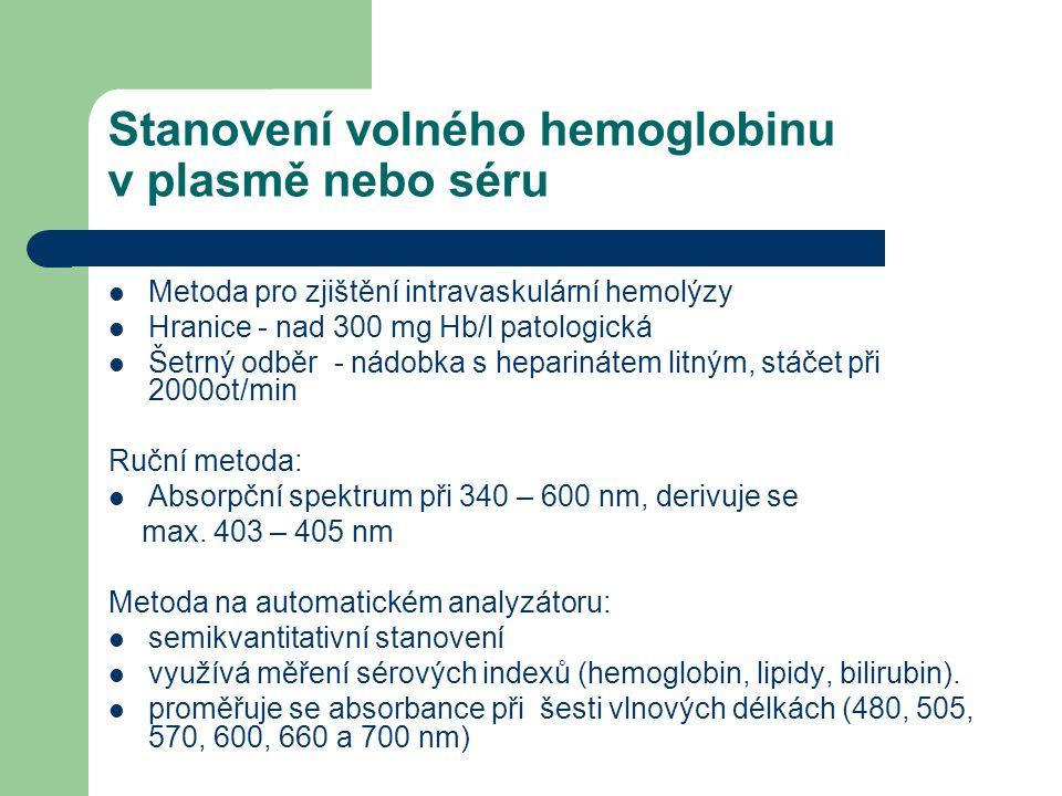 Stanovení volného hemoglobinu v plasmě nebo séru