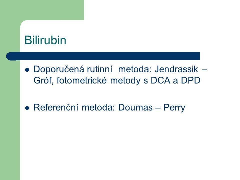 Bilirubin Doporučená rutinní metoda: Jendrassik – Gróf, fotometrické metody s DCA a DPD.