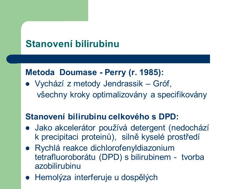 Stanovení bilirubinu Metoda Doumase - Perry (r. 1985):