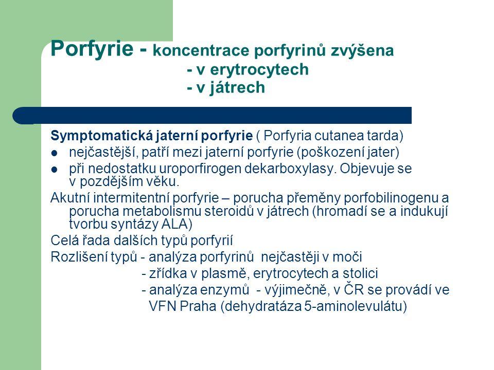 Porfyrie - koncentrace porfyrinů zvýšena - v erytrocytech - v játrech