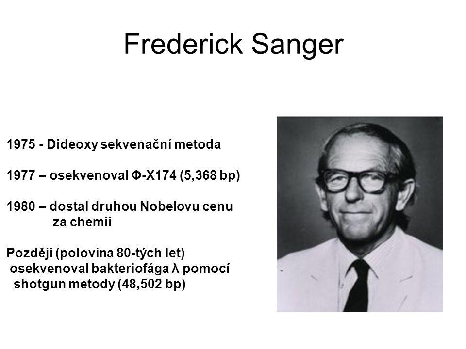 Frederick Sanger 1975 - Dideoxy sekvenační metoda