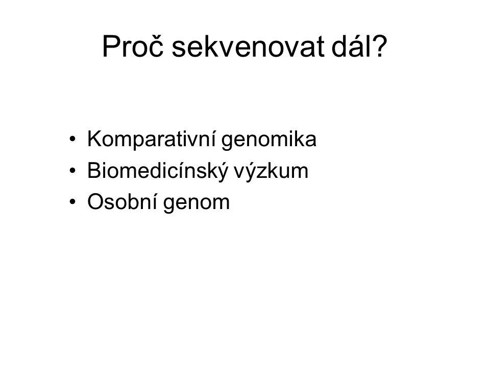 Proč sekvenovat dál Komparativní genomika Biomedicínský výzkum