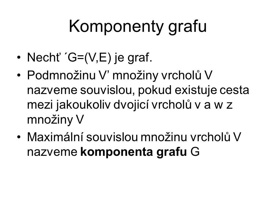 Komponenty grafu Nechť ´G=(V,E) je graf.