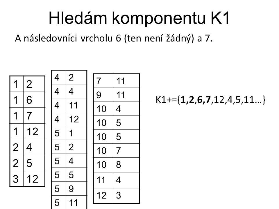 Hledám komponentu K1 A následovníci vrcholu 6 (ten není žádný) a 7. 1