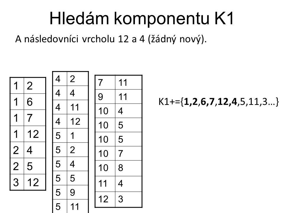 Hledám komponentu K1 A následovníci vrcholu 12 a 4 (žádný nový). 1 2 6