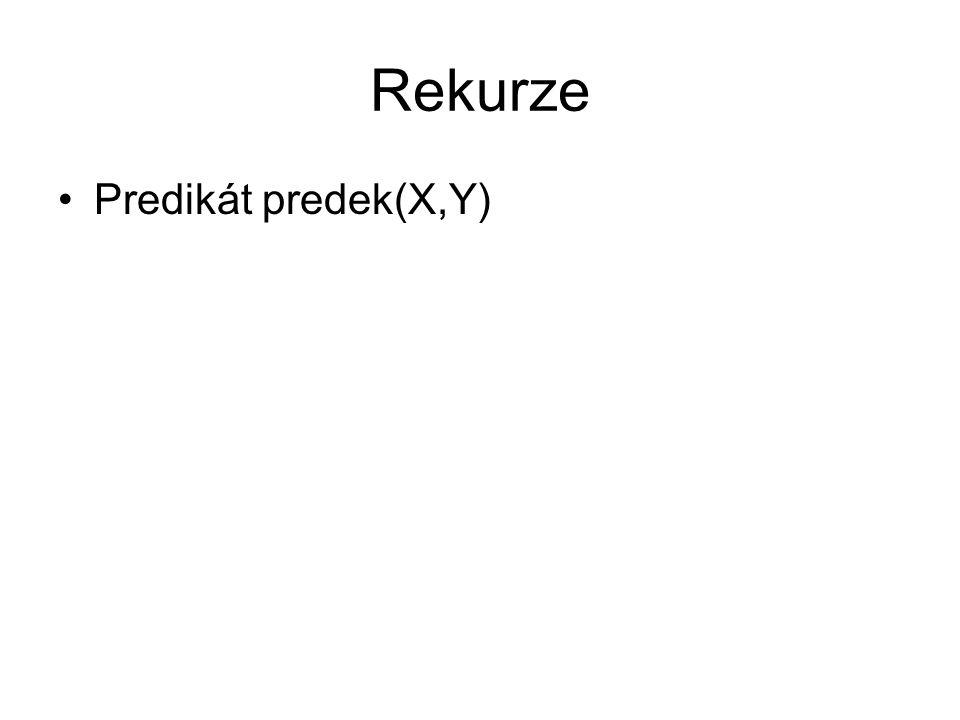 Rekurze Predikát predek(X,Y)