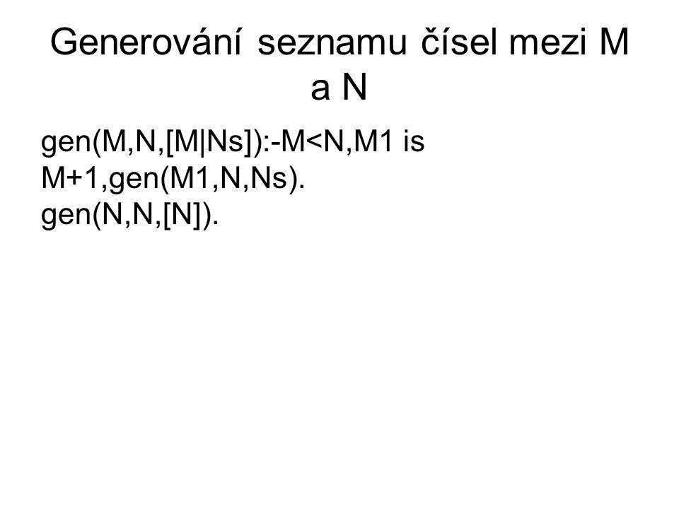 Generování seznamu čísel mezi M a N