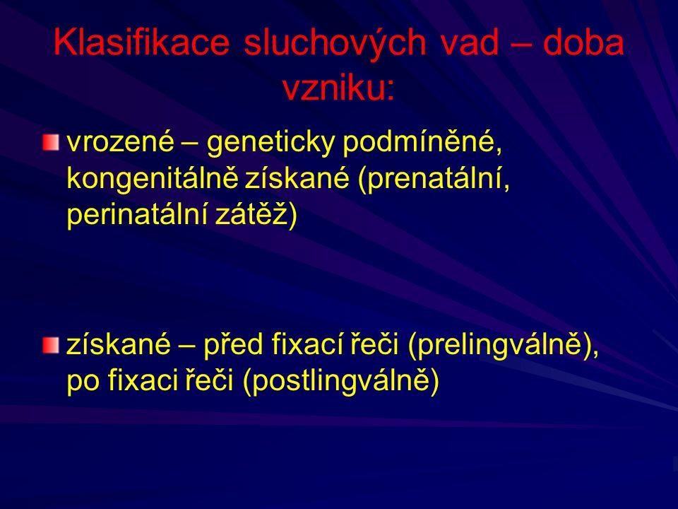 Klasifikace sluchových vad – doba vzniku: