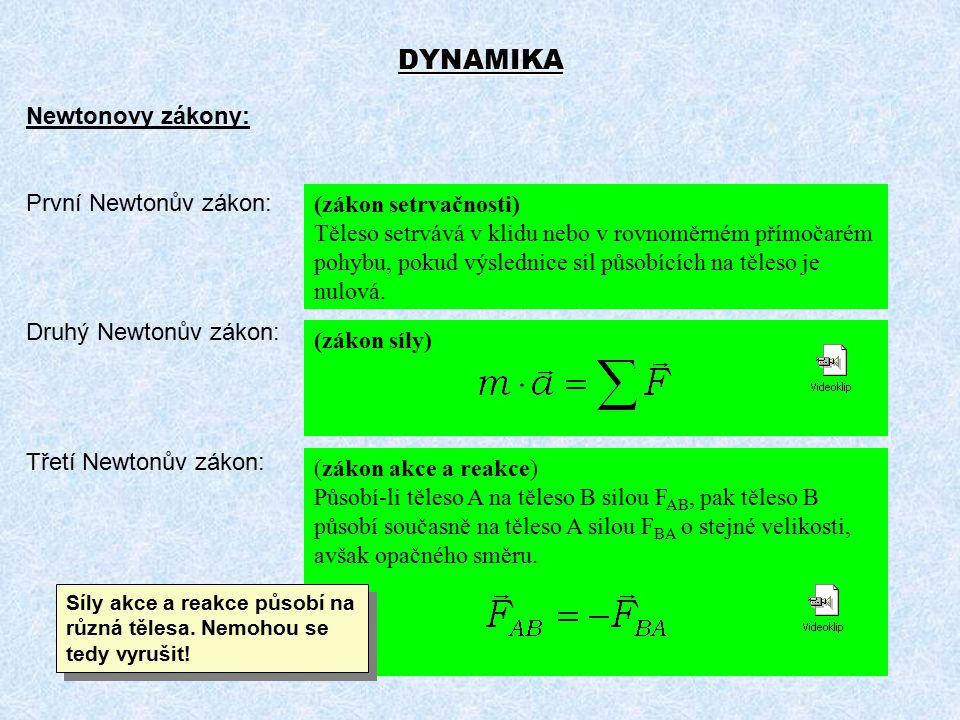 DYNAMIKA Newtonovy zákony: První Newtonův zákon: (zákon setrvačnosti)