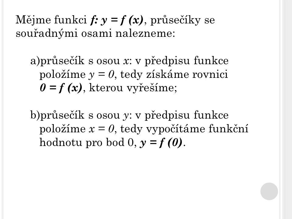 Mějme funkci f: y = f (x), průsečíky se souřadnými osami nalezneme: