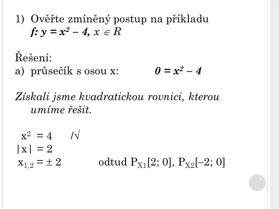 Ověřte zmíněný postup na příkladu f: y = x2 – 4, x  R