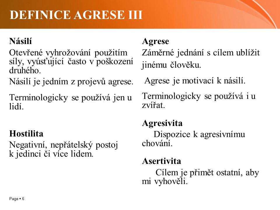 DEFINICE AGRESE III Násilí