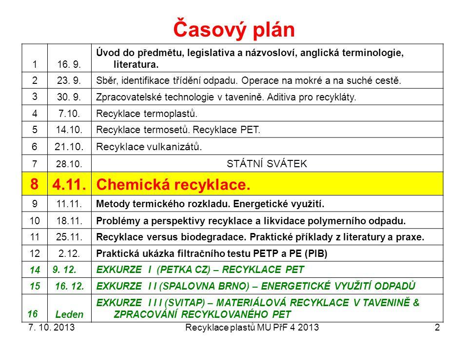 Recyklace plastů MU PřF 4 2013