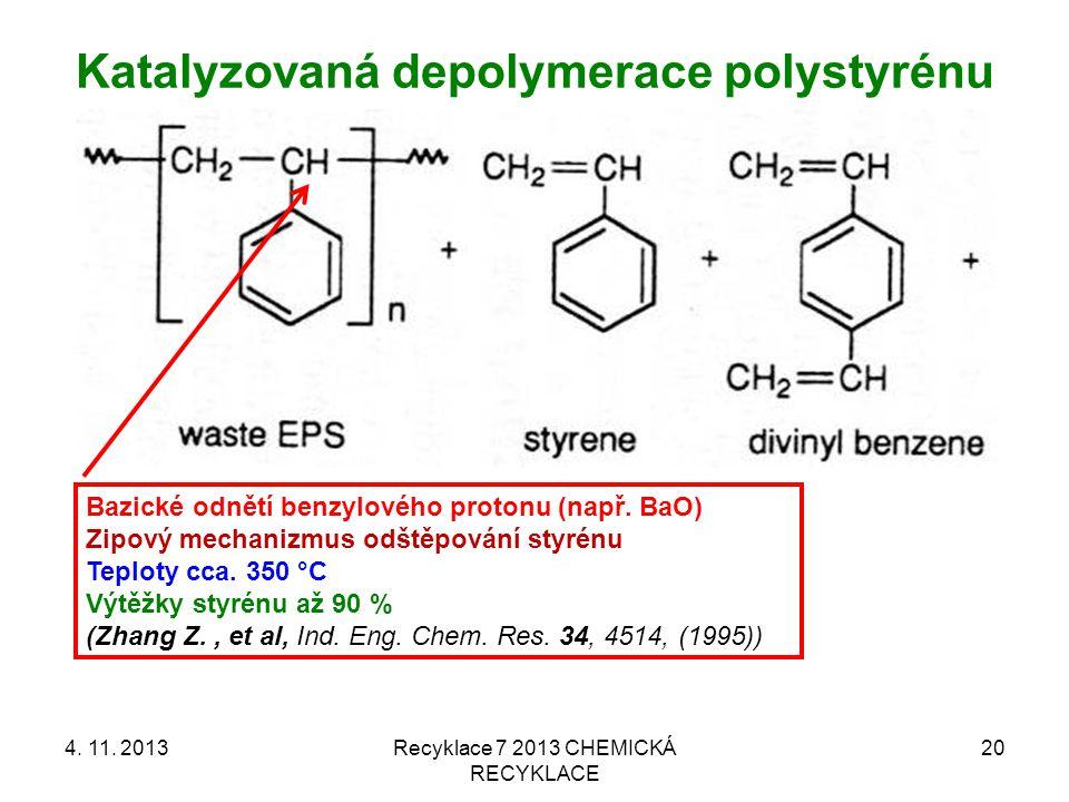 Katalyzovaná depolymerace polystyrénu