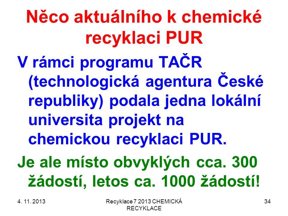 Něco aktuálního k chemické recyklaci PUR