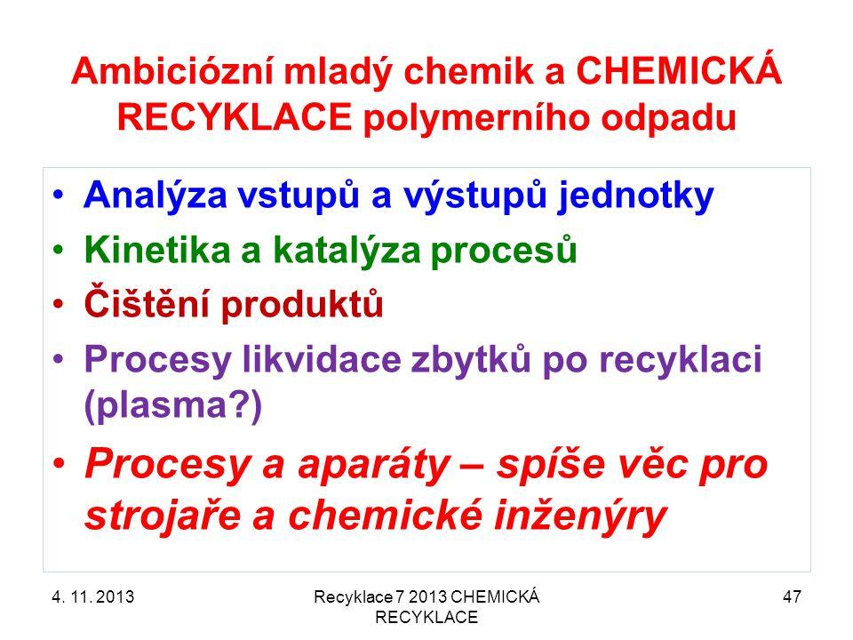 Ambiciózní mladý chemik a CHEMICKÁ RECYKLACE polymerního odpadu