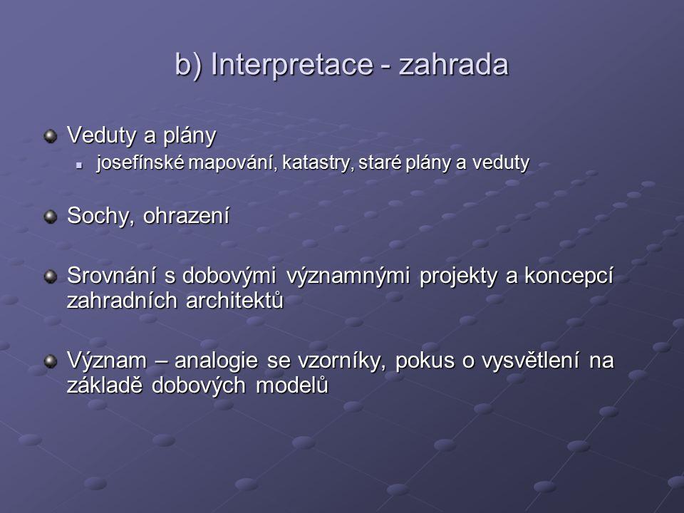 b) Interpretace - zahrada