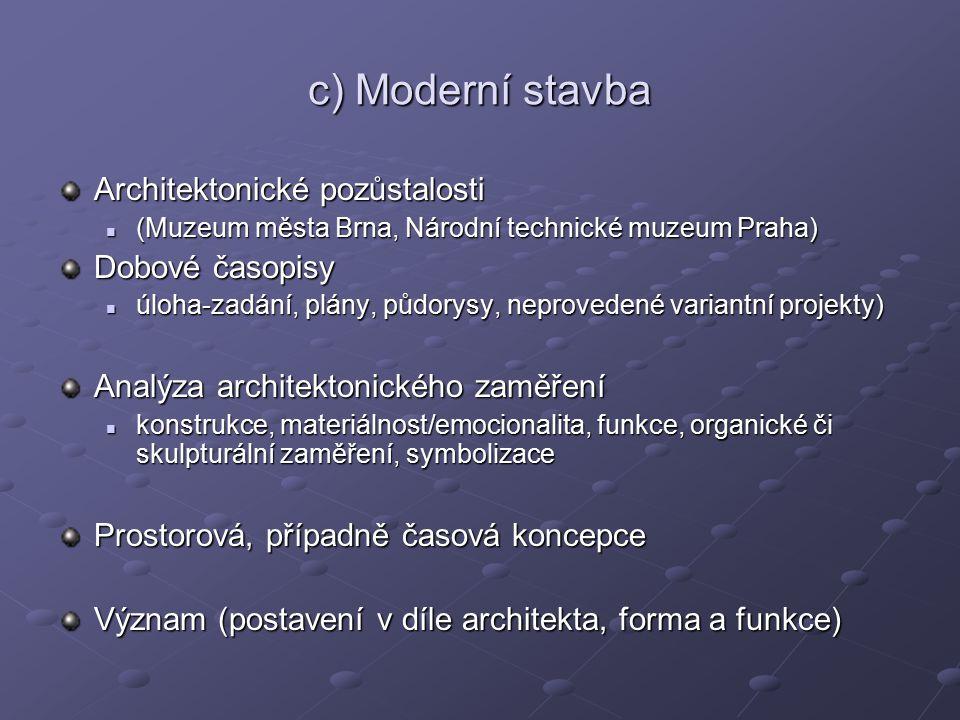 c) Moderní stavba Architektonické pozůstalosti Dobové časopisy