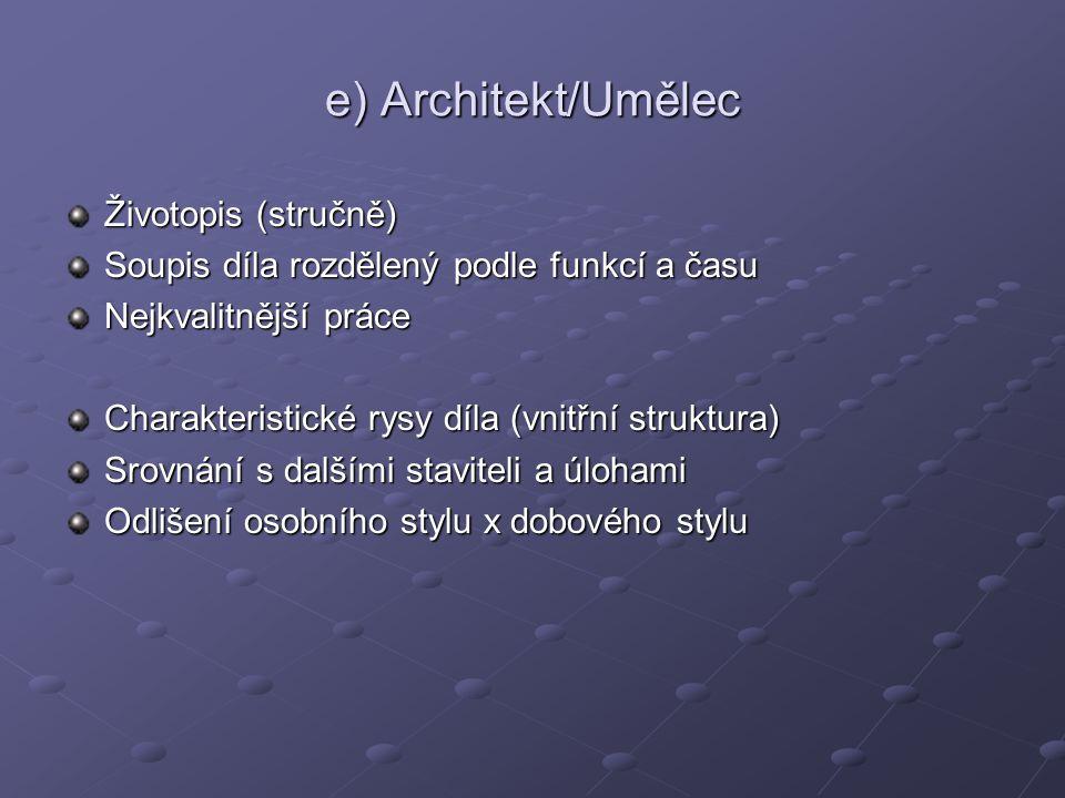 e) Architekt/Umělec Životopis (stručně)
