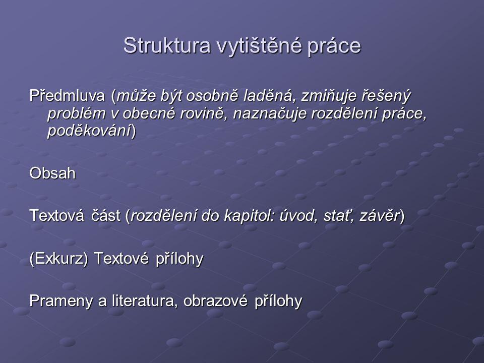Struktura vytištěné práce