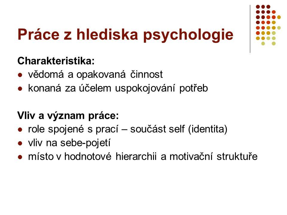 Práce z hlediska psychologie