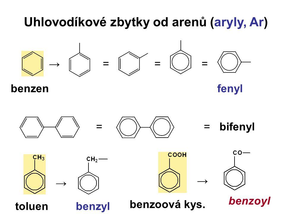Uhlovodíkové zbytky od arenů (aryly, Ar)