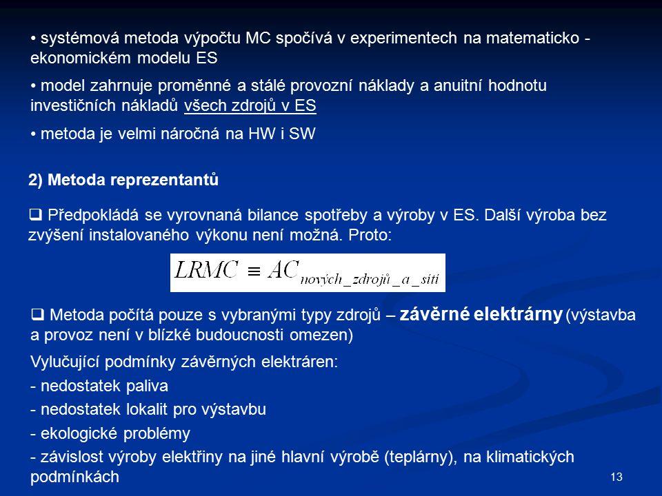 systémová metoda výpočtu MC spočívá v experimentech na matematicko - ekonomickém modelu ES