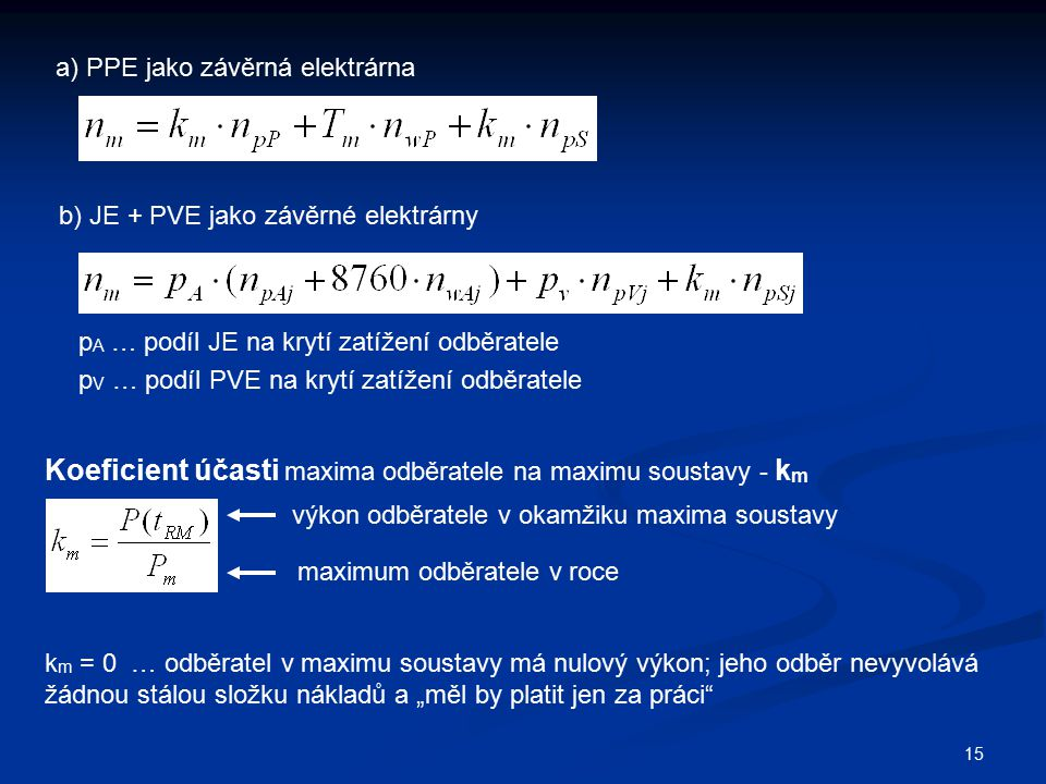 Koeficient účasti maxima odběratele na maximu soustavy - km