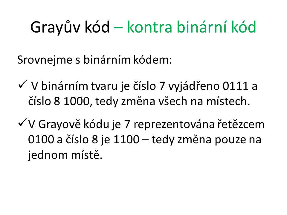 Grayův kód – kontra binární kód