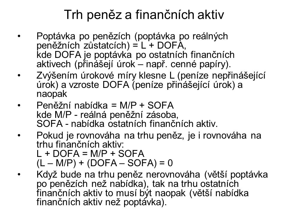 Trh peněz a finančních aktiv