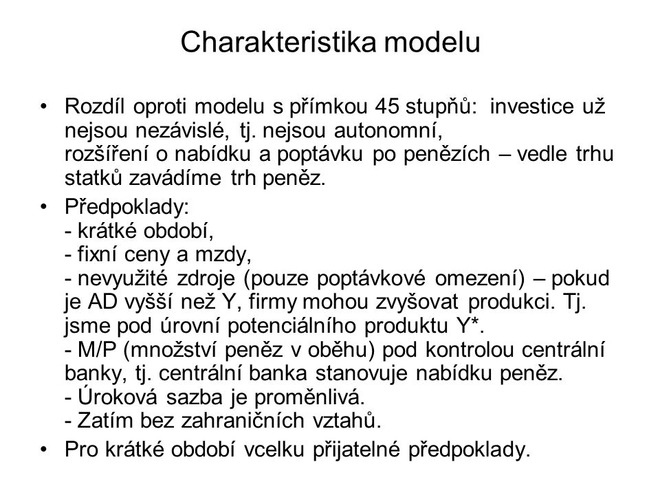 Charakteristika modelu