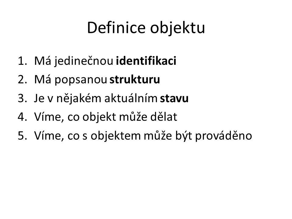 Definice objektu Má jedinečnou identifikaci Má popsanou strukturu