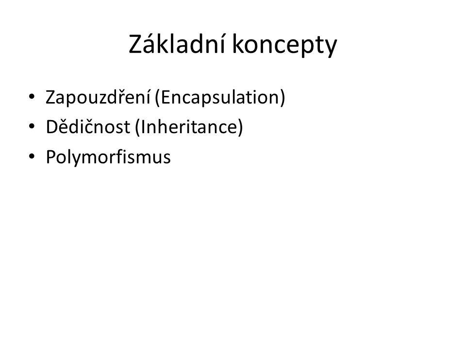 Základní koncepty Zapouzdření (Encapsulation) Dědičnost (Inheritance)