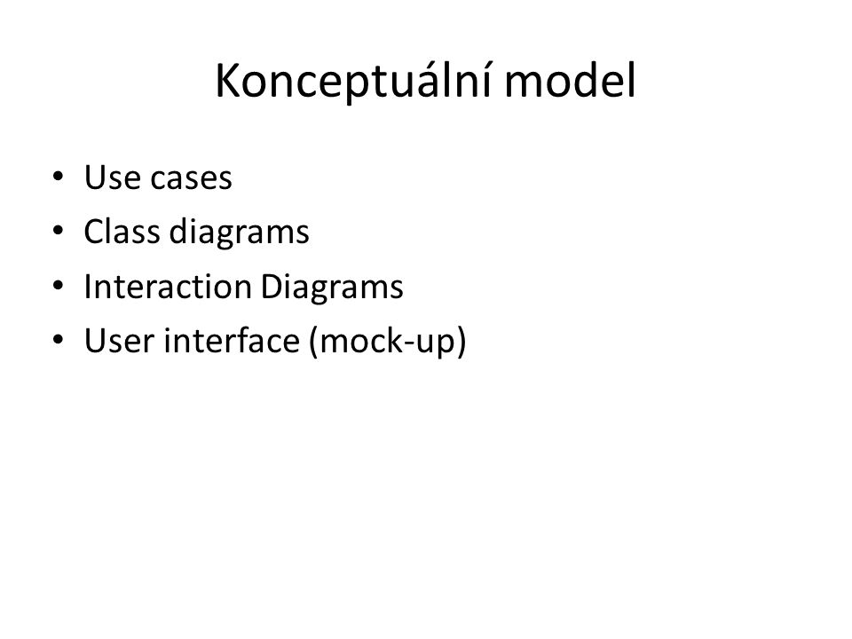 Konceptuální model Use cases Class diagrams Interaction Diagrams