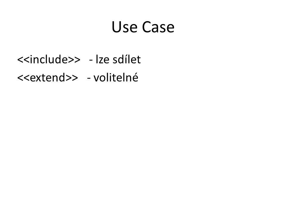 Use Case <<include>> - lze sdílet <<extend>> - volitelné