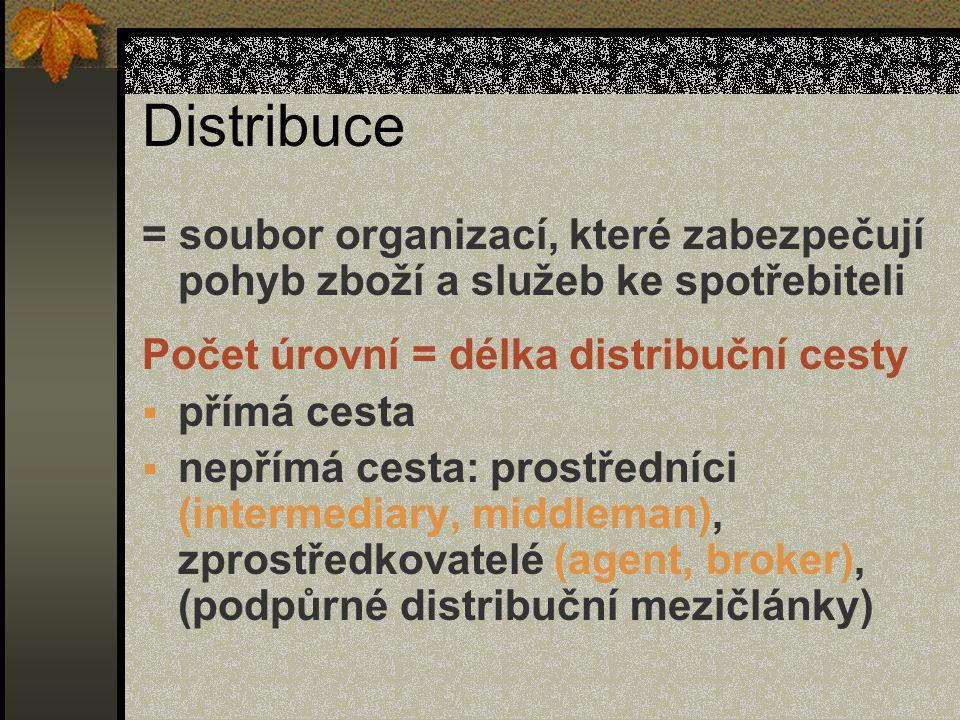 Distribuce = soubor organizací, které zabezpečují pohyb zboží a služeb ke spotřebiteli. Počet úrovní = délka distribuční cesty.