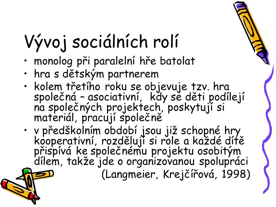 Vývoj sociálních rolí monolog při paralelní hře batolat